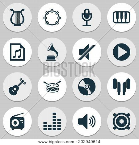Multimedia Icons Set. Collection Of Barrel, Sound, Lyre And Other Elements