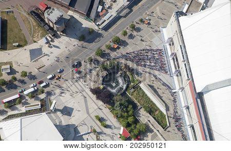 Looking down on Bobbie Rosenfeld park in Toronto Canada