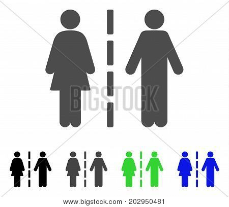 Divorce Line icon. Vector illustration style is a flat iconic divorce line symbol with black, gray, green, blue color versions. Designed for web and software interfaces.