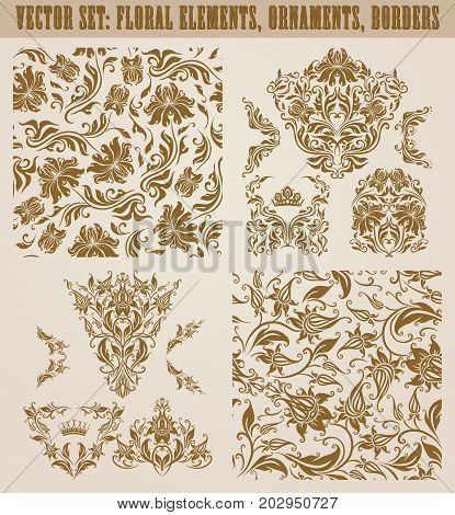 Set of gold damask seamless ornaments. Floral elements, corners, ornate borders, filigree crowns, arabesque for design. Page, web royal decoration on background in vintage style. Vector illustration.