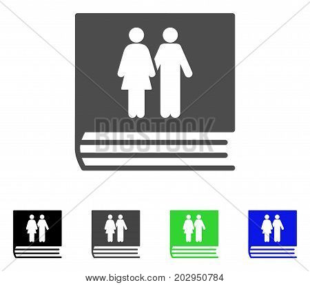 Family Album icon. Vector illustration style is a flat iconic family album symbol with black, gray, green, blue color variants. Designed for web and software interfaces.
