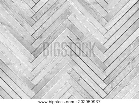 Natural gray wooden parquet herringbone. Wood texture
