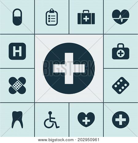 Drug Icons Set. Collection Of Dental, Rhythm, Plus And Other Elements