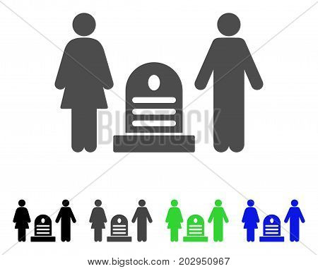Family Cemetery icon. Vector illustration style is a flat iconic family cemetery symbol with black, grey, green, blue color versions. Designed for web and software interfaces.