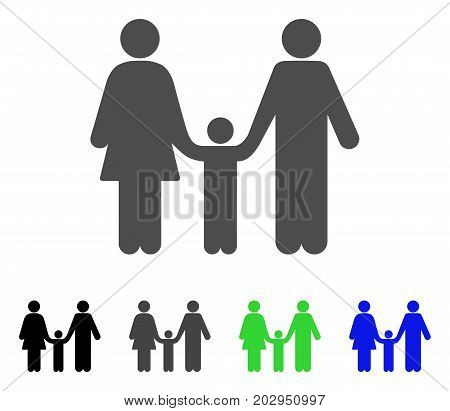 Family Child icon. Vector illustration style is a flat iconic family child symbol with black, grey, green, blue color versions. Designed for web and software interfaces.
