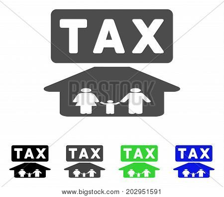 Family Tax Pressure icon. Vector illustration style is a flat iconic family tax pressure symbol with black, grey, green, blue color versions. Designed for web and software interfaces.