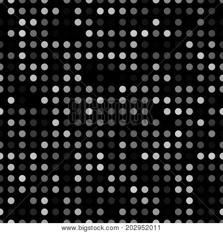 Dark abstract background with light circles. Geometric mosaic technology seamless pattern. Black backdrop white particles.