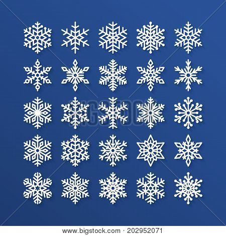 Snowflake flat icons set. Collection of cute geometric snowflakes, stylized snowfall. Design element for christmas or new year card, winter ornament. Frozen snow flakes silhouette on blue background.