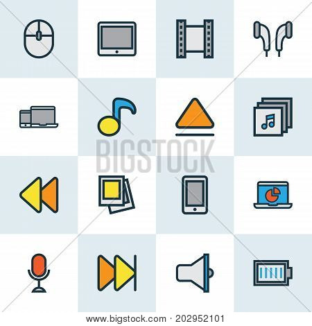 Multimedia Colorful Outline Icons Set. Collection Of Karaoke, Devices, Forward And Other Elements