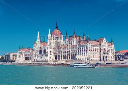 Parliament building of Budapest above Danube river in Hungary neo-gothic style architecture