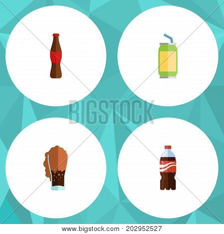 Flat Icon Soda Set Of Bottle, Soda, Drink And Other Vector Objects