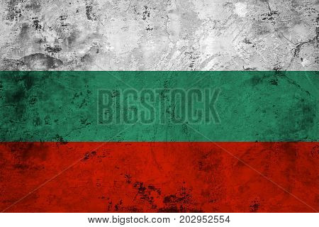 Flag of the Bulgaria against the background of the stone texture