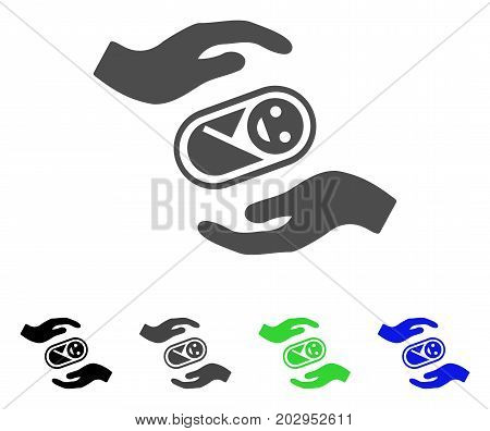 Newborn Care Hands icon. Vector illustration style is a flat iconic newborn care hands symbol with black, gray, green, blue color versions. Designed for web and software interfaces.