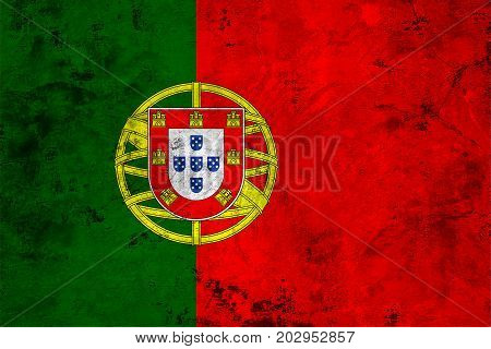 Flag of the Portugal against the background of the stone texture