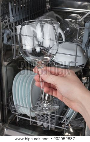 Hand holding clean glass on a background of the dishwasher