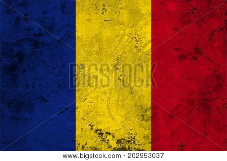 Flag of the Romania against the background of the stone texture