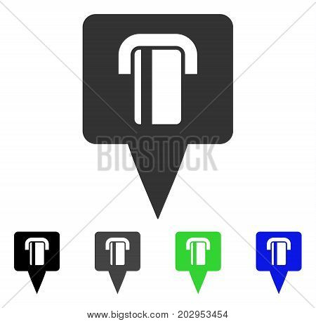 Bank Terminal Map Pointer icon. Vector illustration style is a flat iconic bank terminal map pointer symbol with black, gray, green, blue color variants. Designed for web and software interfaces.