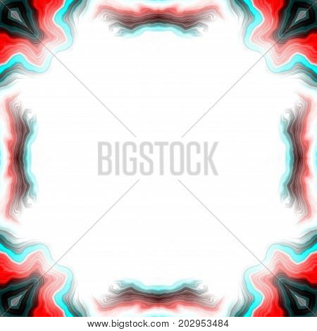 Red and black abstract symmetry square vivid framed background