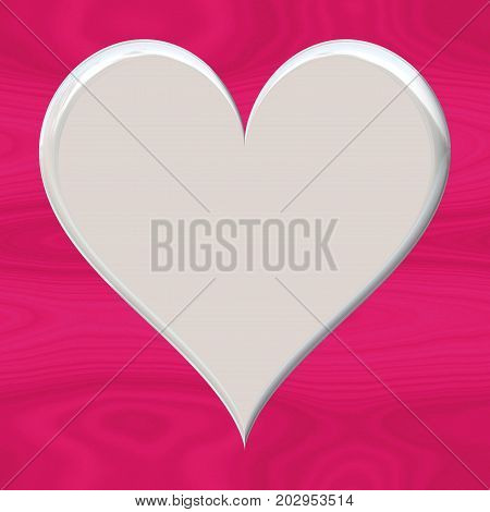 White flat smooth 3d heart empty symbol on fuchsia pink