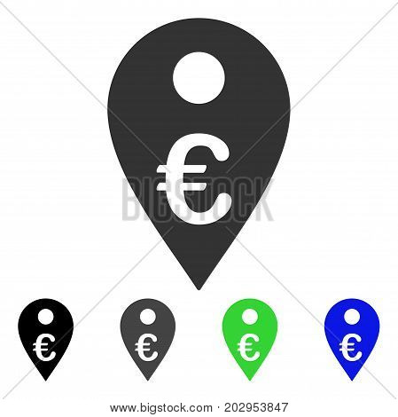 Euro Map Marker icon. Vector illustration style is a flat iconic euro map marker symbol with black, gray, green, blue color variants. Designed for web and software interfaces.