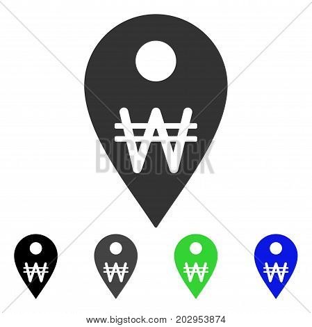 Korean Won Map Marker icon. Vector illustration style is a flat iconic korean won map marker symbol with black, gray, green, blue color versions. Designed for web and software interfaces.