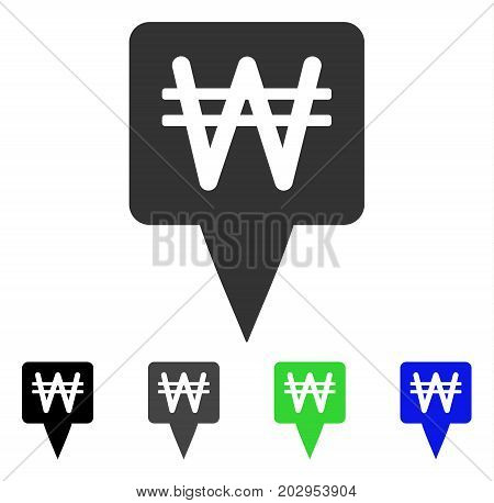 Korean Won Map Pointer icon. Vector illustration style is a flat iconic korean won map pointer symbol with black, gray, green, blue color versions. Designed for web and software interfaces.