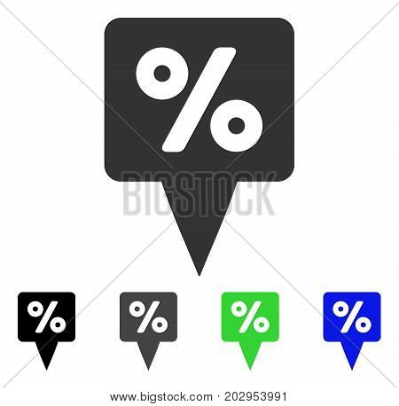 Percent Map Pointer icon. Vector illustration style is a flat iconic percent map pointer symbol with black, gray, green, blue color versions. Designed for web and software interfaces.