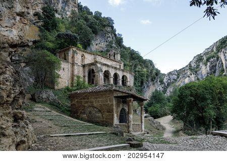 Small church at the side of the road Tobera Burgos Castilla y Leon Spain