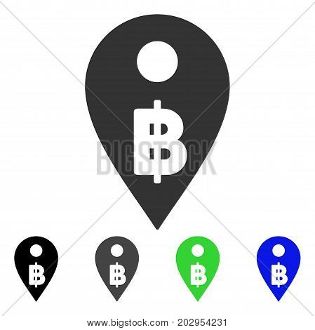Thai Baht Map Marker icon. Vector illustration style is a flat iconic thai baht map marker symbol with black, grey, green, blue color versions. Designed for web and software interfaces.