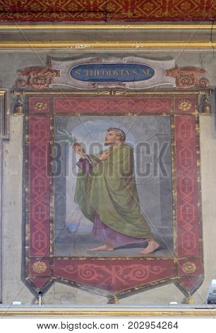 ROME, ITALY - SEPTEMBER 03: Saint Theodulus martyr fresco painting in Church of St Lawrence at Lucina, Rome, Italy on September 03, 2016.