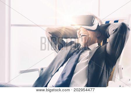 Businessman Enjoying A Virtual Vacation