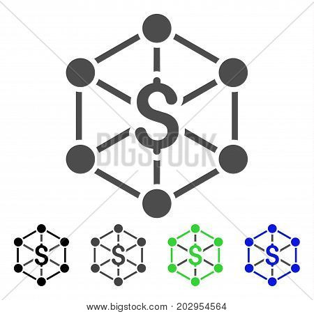 Bank Network icon. Vector illustration style is a flat iconic bank network symbol with black, gray, green, blue color versions. Designed for web and software interfaces.