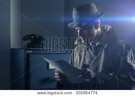 Vintage undercover agent stealing files in a corporate office late at night security and data theft concept