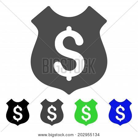 Guard Price icon. Vector illustration style is a flat iconic guard price symbol with black, grey, green, blue color versions. Designed for web and software interfaces.