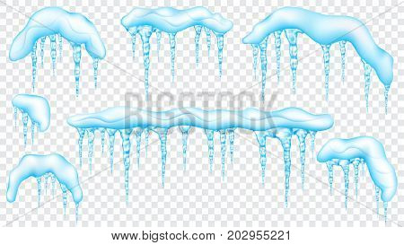 Set Of Snowdrifts With Translucent Icicles
