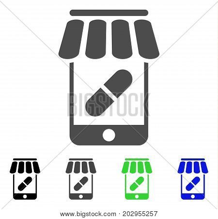 Online Pharmacy icon. Vector illustration style is a flat iconic online pharmacy symbol with black, grey, green, blue color versions. Designed for web and software interfaces.