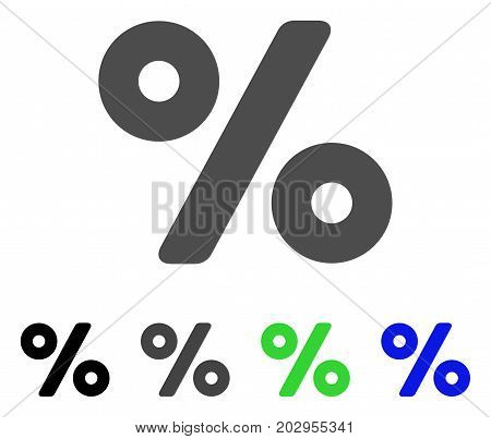 Percent icon. Vector illustration style is a flat iconic percent symbol with black, gray, green, blue color versions. Designed for web and software interfaces.