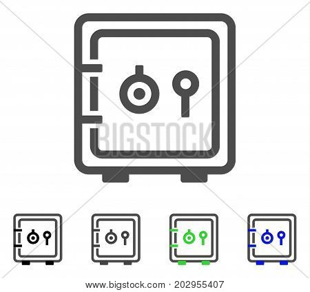 Safe icon. Vector illustration style is a flat iconic safe symbol with black, gray, green, blue color variants. Designed for web and software interfaces.