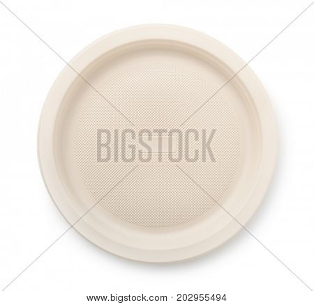 Top view of biodegradable plastic plate isolated on white