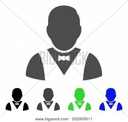 Waiter icon. Vector illustration style is a flat iconic waiter symbol with black, grey, green, blue color variants. Designed for web and software interfaces.