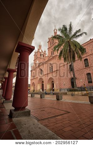 July 10 2017 Buga Valle de Cauca Colombia: the Lord of the Miracles basilica is receiving three million pilgrims each year