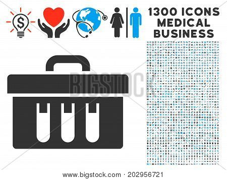 Analysis Case gray vector icon with 1300 doctor business icons. Set style is flat bicolor light blue and gray pictograms.