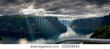 View of the Aurlandsfjord fjord with Stegastein viewing platform. It is a fjord in Sogn og Fjordane county, Norway, a branch of the main Sognefjorden. Length 29 km