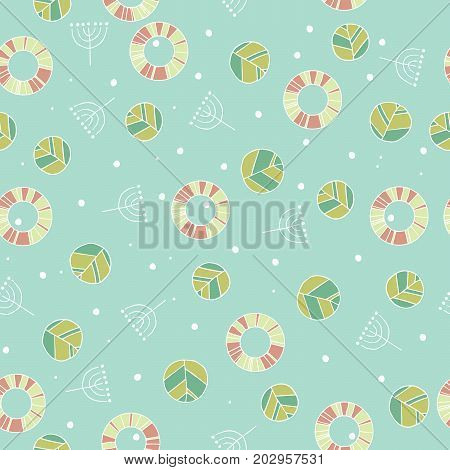Seamless nature pattern with cute leaves in blue color. Modern foliage background with twigs in chaotic manner. Flat hand draw style