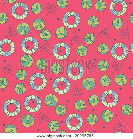 Seamless nature pattern with cute leaves in red color. Modern foliage background with twigs in chaotic manner. Flat hand draw style