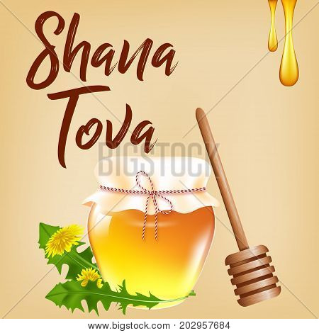 Vector illustration for a Jewish holiday Shana Tova. A realistic jar of honey, a wooden stick and dandelion flowers against the background of an old paper.