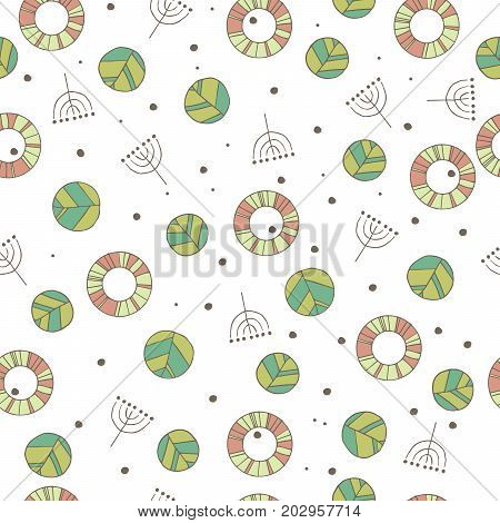 Seamless nature pattern with cute leaves in white color. Modern foliage background with twigs in chaotic manner. Flat hand draw style