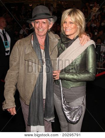 """LOS ANGELES - MAY 07:  Keith Richards & Wife arrives to the """"Pirates of the Caribbean: On Stranger Tides"""" World Premiere  on May 7, 2011 in Anaheim, CA"""