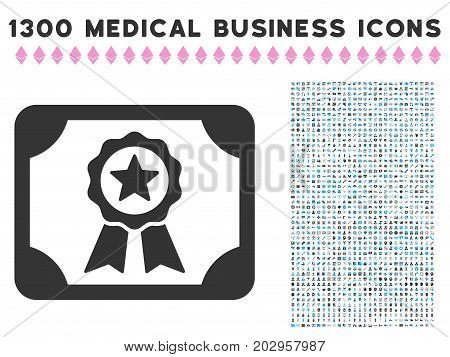 Authorize Diploma gray vector icon with 1300 doctor commerce icons. Clipart style is flat bicolor light blue and gray pictograms.