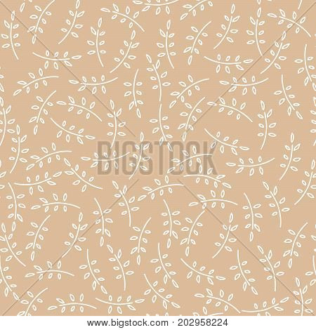Seamless nature pattern with cute twigs in brown color. Foliage background with leaves in chaotic manner. Cartoon hand draw style